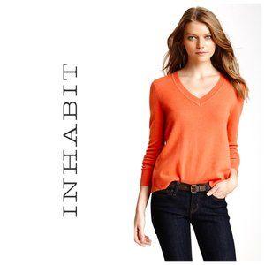 INHABIT 100% Cashmere Tangerine V-Neck Sweater